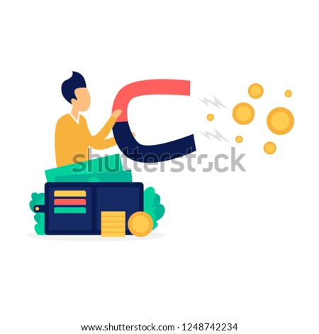 Stock photo: Businessman hold magnet attracting money. happy business concept