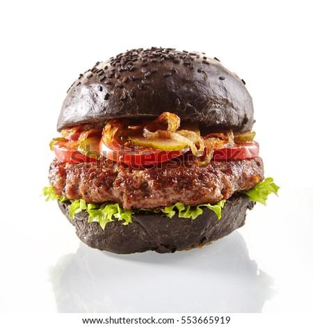 fekete · hamburger · zsemle · szeletek · lédús · márvány - stock fotó © mcherevan