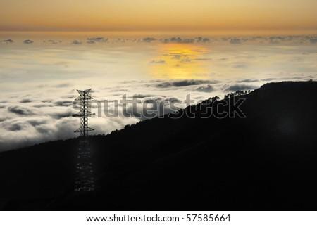 silhuetas · montanhas · pôr · do · sol · paisagem · céu · fundo - foto stock © brozova