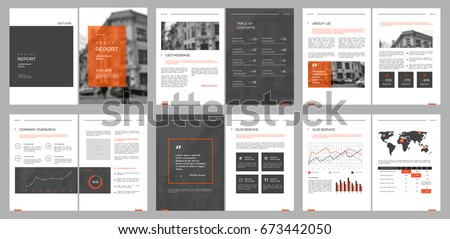 Orange Annual report template business brochure flyer template i Stock photo © ganpanjanee