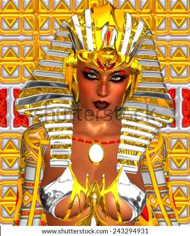 Beautiful woman like Egyptian Queen Cleopatra on golden background. Side view, face profile stock photo © artfotodima