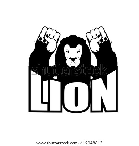 Foto stock: Zangado · leão · agressivo · besta · logotipo