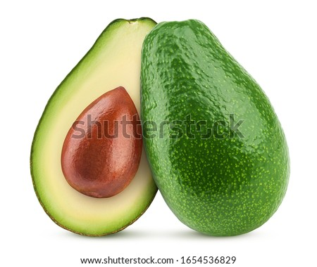 fresh tropical avocado pear fruit healthy food on white macro close up over white with copy space stock photo © zurijeta