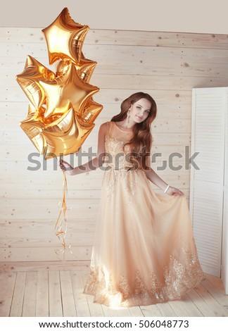 молодые красивая женщина звездой шаров Сток-фото © Victoria_Andreas