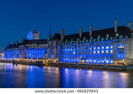 Сток-фото: Westminster Millennium Pier London Eye And County Hall At Night