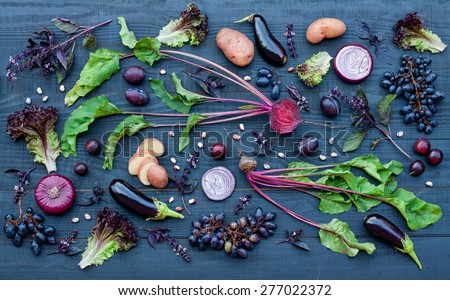 collection of fresh purple vegetables on the blue wooden backgro stock photo © vlad_star