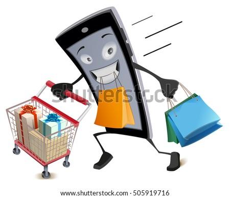 Black Friday virtual shopping. Joyful smartphone runs with shopping basket and bags Stock photo © orensila