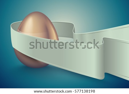 Glossy golden egg, white winding tape. Turquoise deep retro ribbon background idea. Vintage banner Stock photo © Iaroslava