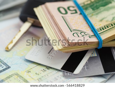 american money credit cards and car key lies on thr top of the stock photo © vlad_star