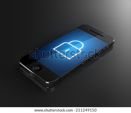 Locked smartphone. Security concept. Isolated on a white and black background 3d Illustration Stock photo © tussik
