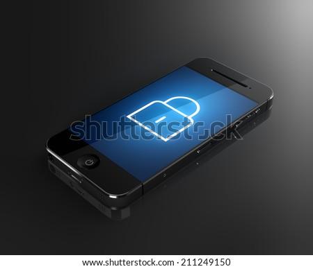 Zárolt okostelefon biztonság izolált fehér fekete Stock fotó © tussik