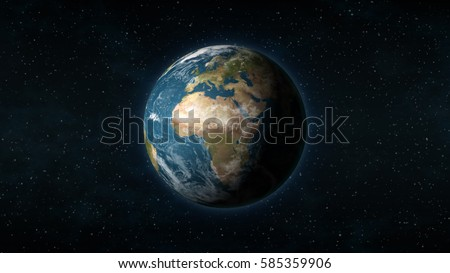 Realistic Earth centered on Africa and Europe on a black background Stock photo © Noedelhap
