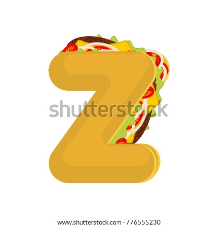 Letter Z tacos. Mexican fast food font. Taco alphabet symbol. Me Stock photo © MaryValery