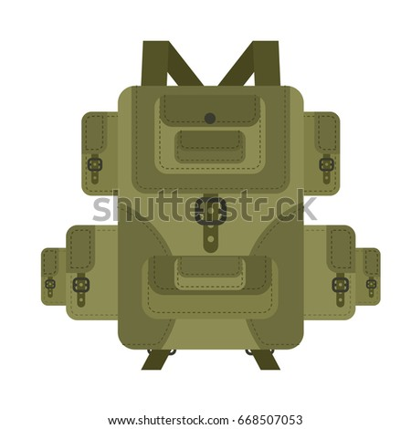 Military backpack green isolated. Soldier briefcase. Army havers Stock photo © MaryValery