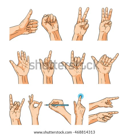 Set of Human hands in pop art style. Like sign. Hand with megaph Stock photo © masay256