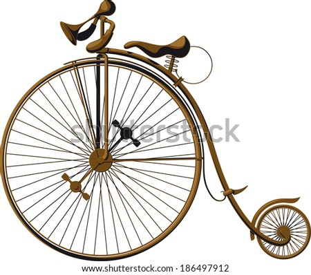 Victorian old retro bicycle  silhouette isolated on white backgr Stock photo © NikoDzhi