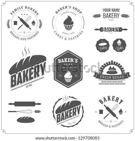 bakery shop emblem labels logo and design elements fresh bread vector illustration stock photo © leo_edition