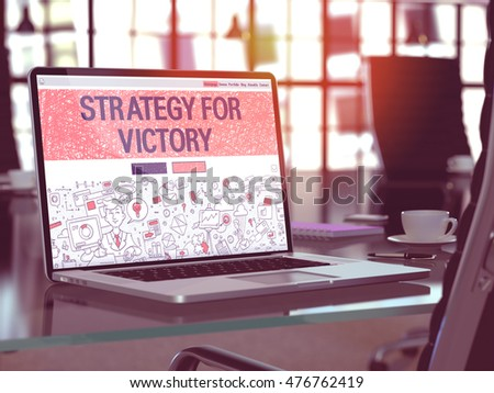 Strategy for Victory Concept on Laptop Screen. 3D Illustration. Stock photo © tashatuvango
