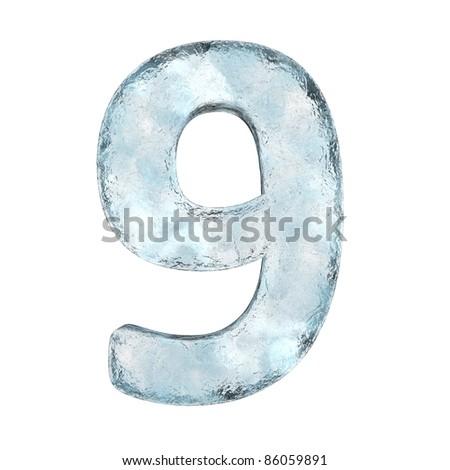 Número hielo fuente nueve congelado alfabeto Foto stock © MaryValery