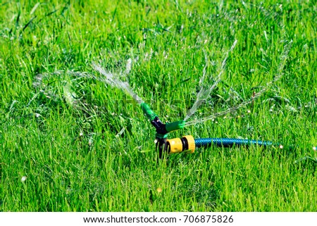 Closeup shot of lawn sprinkler spaying water over green grass fi Stock photo © Nobilior