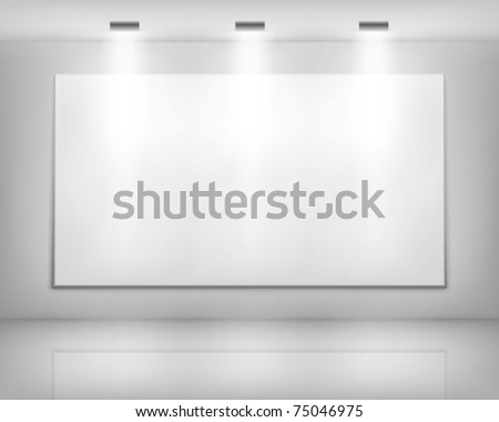photo studio room empty white interior realistic spotlight lamps vector illustration stock photo © pikepicture