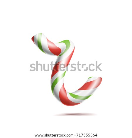 Letter R Vector. 3D Realistic Candy Cane Alphabet Symbol In Christmas Colours. New Year Letter Textu Stock photo © pikepicture