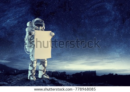 Astronaut banner witte kosmonaut Stockfoto © popaukropa