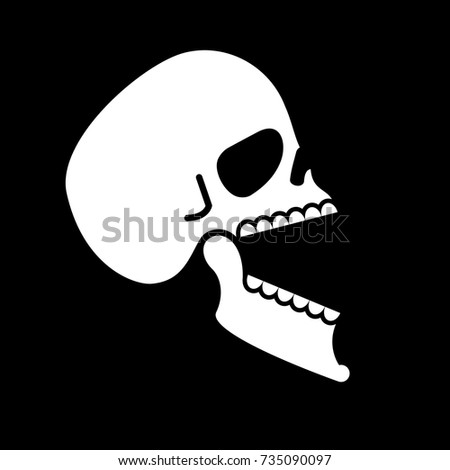 Skull open mouth isolated. Head of skeleton open lower jaw. Vect Stock photo © popaukropa