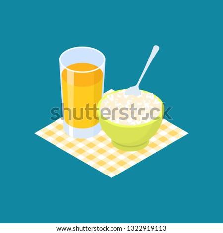Stock fotó: Rizs · gyümölcslé · reggeli · egészséges · étel · étel · gyümölcs