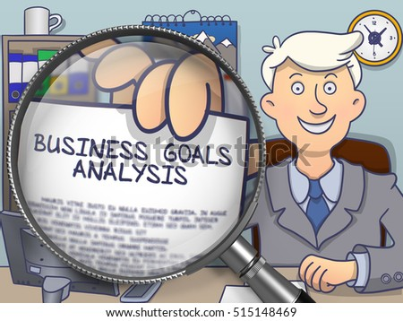 Foto stock: Business Goals Analysis Through Magnifying Glass Doodle Design