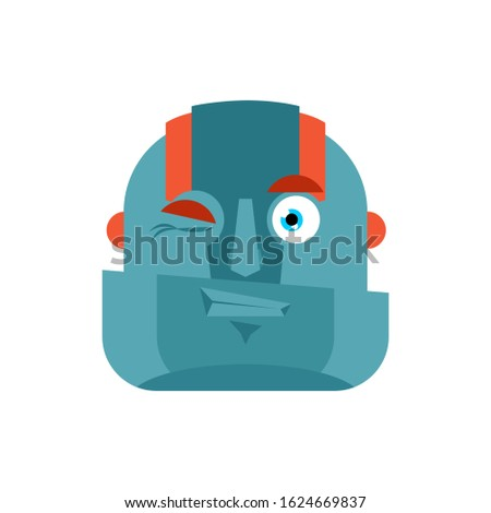 Robot wink emoji. Cyborg merry emotions. Robotic man Joyful. Vec Stock photo © popaukropa