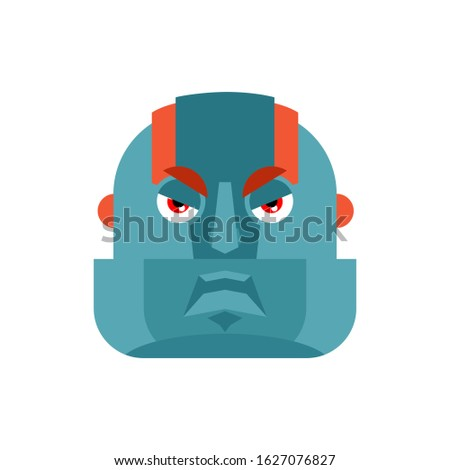 Robot angry emoji. Cyborg evil emotions avatar. Robotic man aggr Stock photo © popaukropa