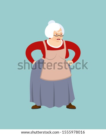 Grootmoeder boos gezicht oma kwaad agressief Stockfoto © popaukropa