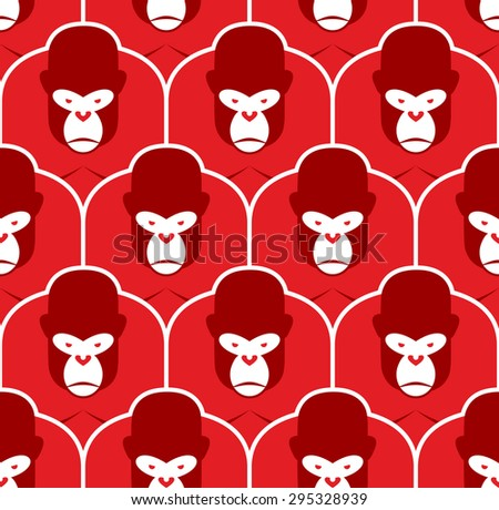 Gorilla seamless pattern. Flock of Angry red big monkey. Backgro Stock photo © popaukropa