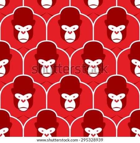 gorilla seamless pattern flock of angry red big monkey backgro stock photo © popaukropa
