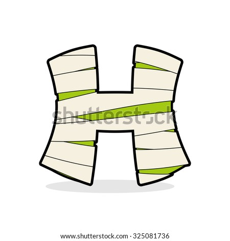 H Letter Monster zombie. Alphabetical icon medical bandages. Eg Stock photo © popaukropa