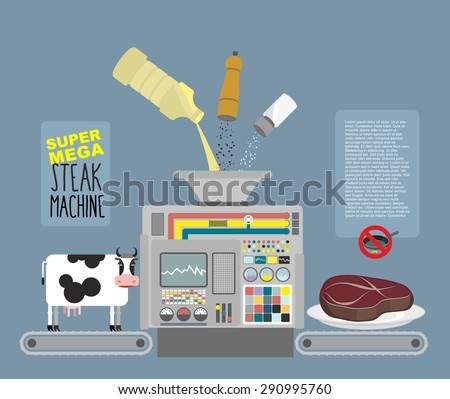 Super mega steak machine. Automatic line for  production of meat Stock photo © popaukropa