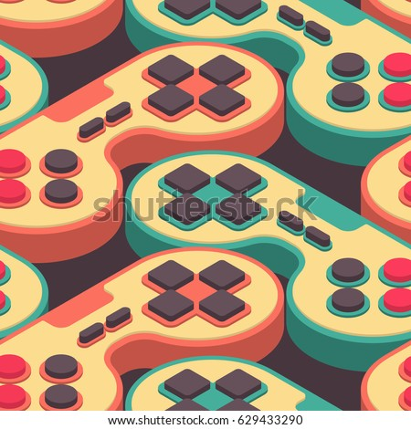 Joystick retro seamless pattern. Gampad Game console 8 bit textu Stock photo © popaukropa