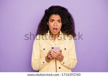 Colorful photo of scared or offended mixed-race woman with trend Stock photo © deandrobot