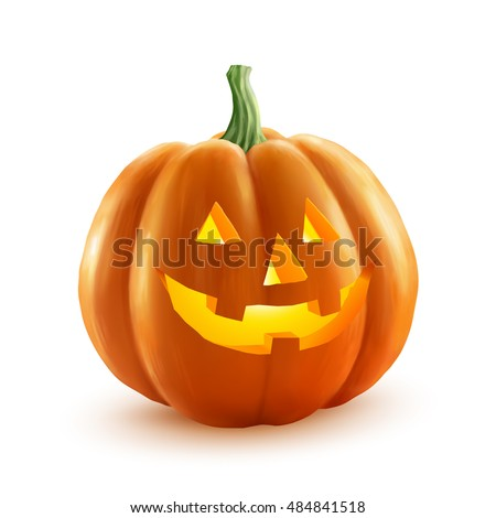 Vector Halloween pumpkin with candle inside. Happy face Halloween pumpkin isolated on transparent ba Stock photo © articular