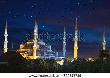 Mosque is night. Islamic religious building. Muslim holiday Eid  Stock photo © popaukropa