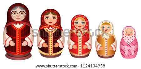Set russian wooden nesting doll. Traditional retro souvenir from Russia Stock photo © orensila