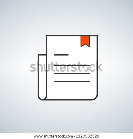 simple document logo with red bookmark. concept of teaching, digital e-book, album, scrapbook, paper Stock photo © kyryloff