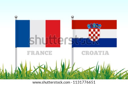 Flags of France and Croatia against the backdrop of grass football stadium. Vector Stock photo © m_pavlov