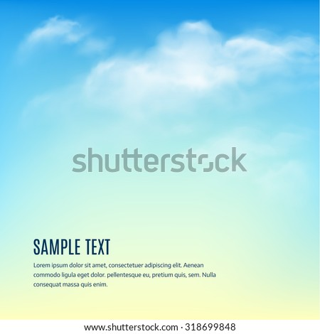 vector summer holiday illustration on blue sky and cloud background tropical plants flower travel stock photo © articular