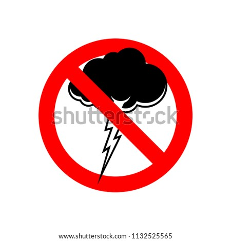 Stoppen onweersbui Rood verkeersbord verbieden wolk Stockfoto © MaryValery