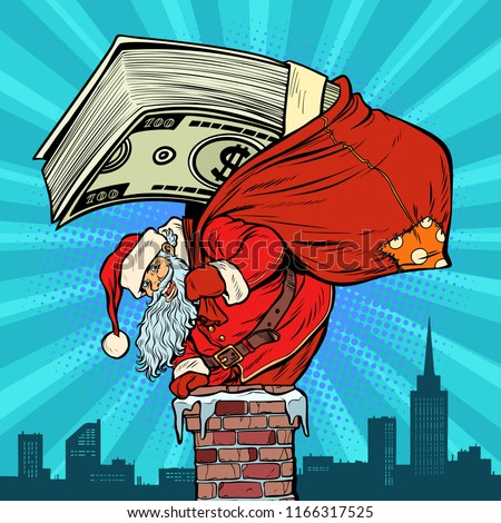 money cash dollars santa claus with gifts climbs into the chimn stock photo © studiostoks