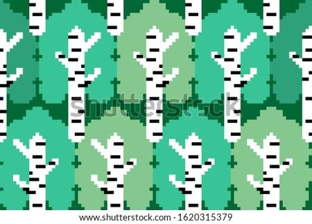 Huş ağacı orman piksel sanat rus Stok fotoğraf © MaryValery