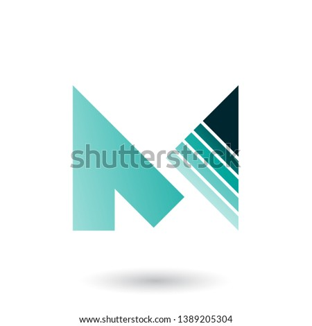 Persian Green Letter M with a Diagonally Striped Triangle Vector Stock photo © cidepix