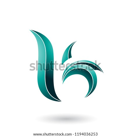 persian green striped leaf shaped letter b or k vector illustrat stock photo © cidepix